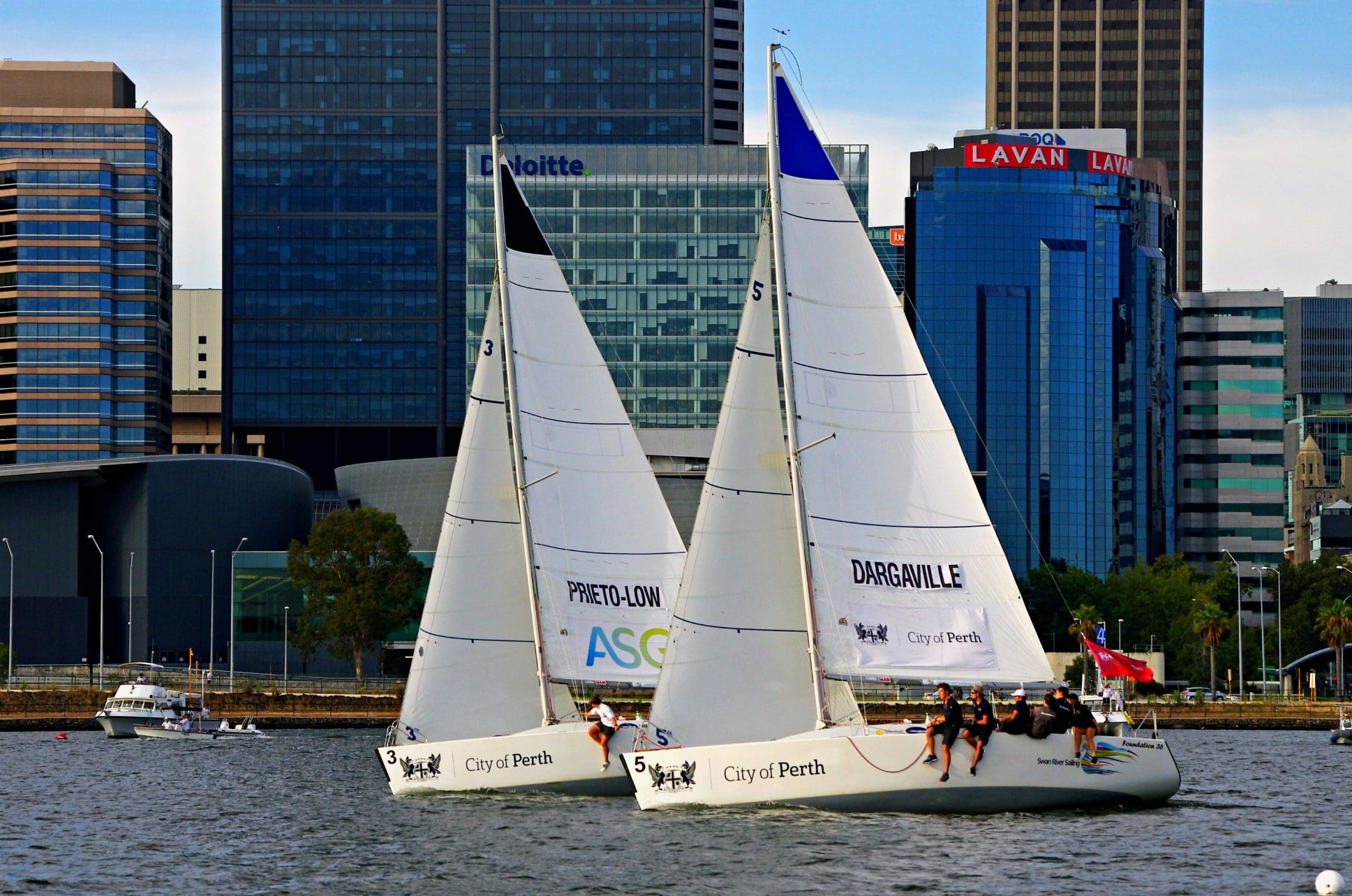 Yacht sailing in Perth Waters
