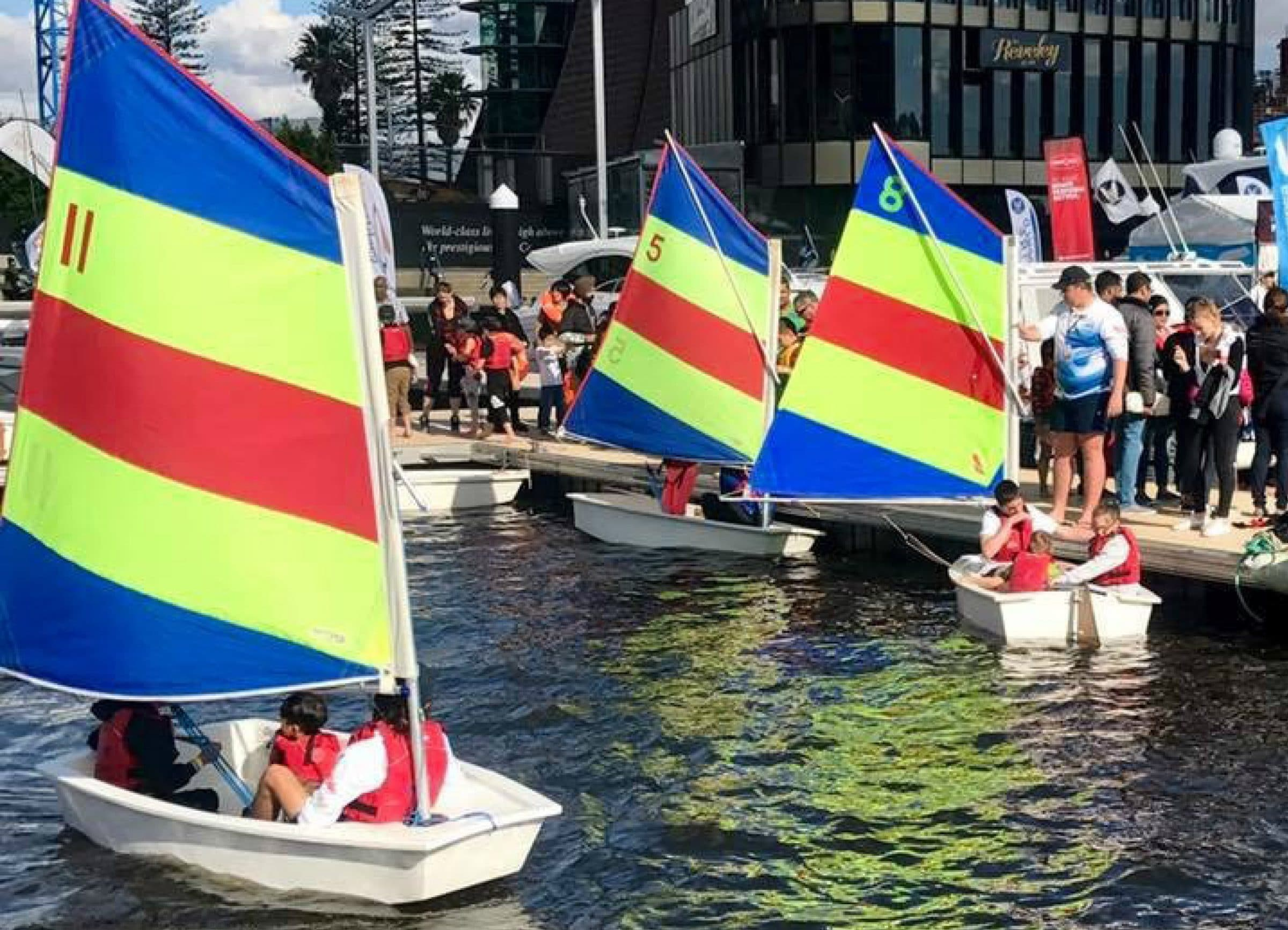 kids sailing little tackers boats at the perth international boat show