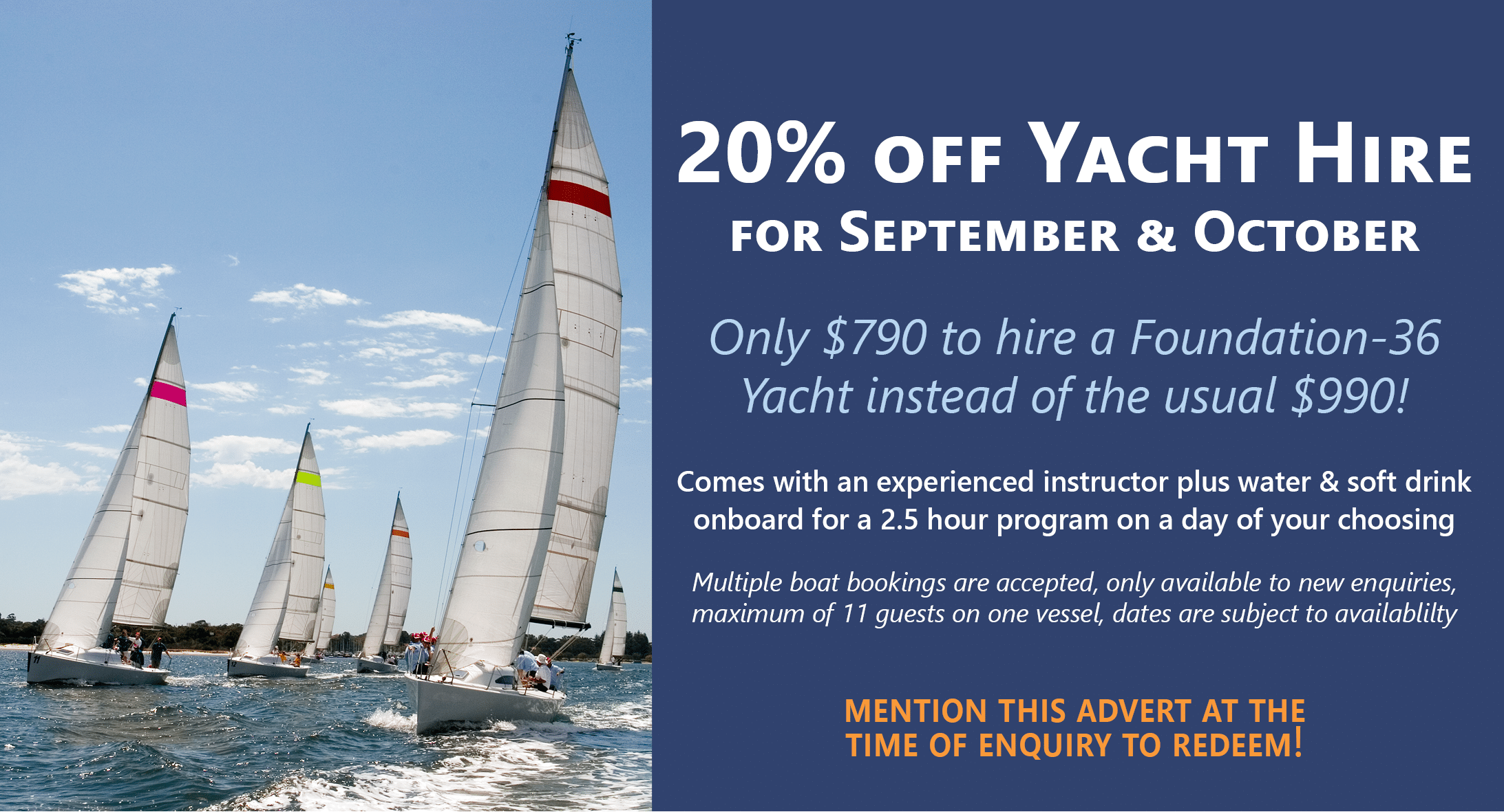 swan river sailing special september and october promotion for new corporate sailing bookings in perth, wa