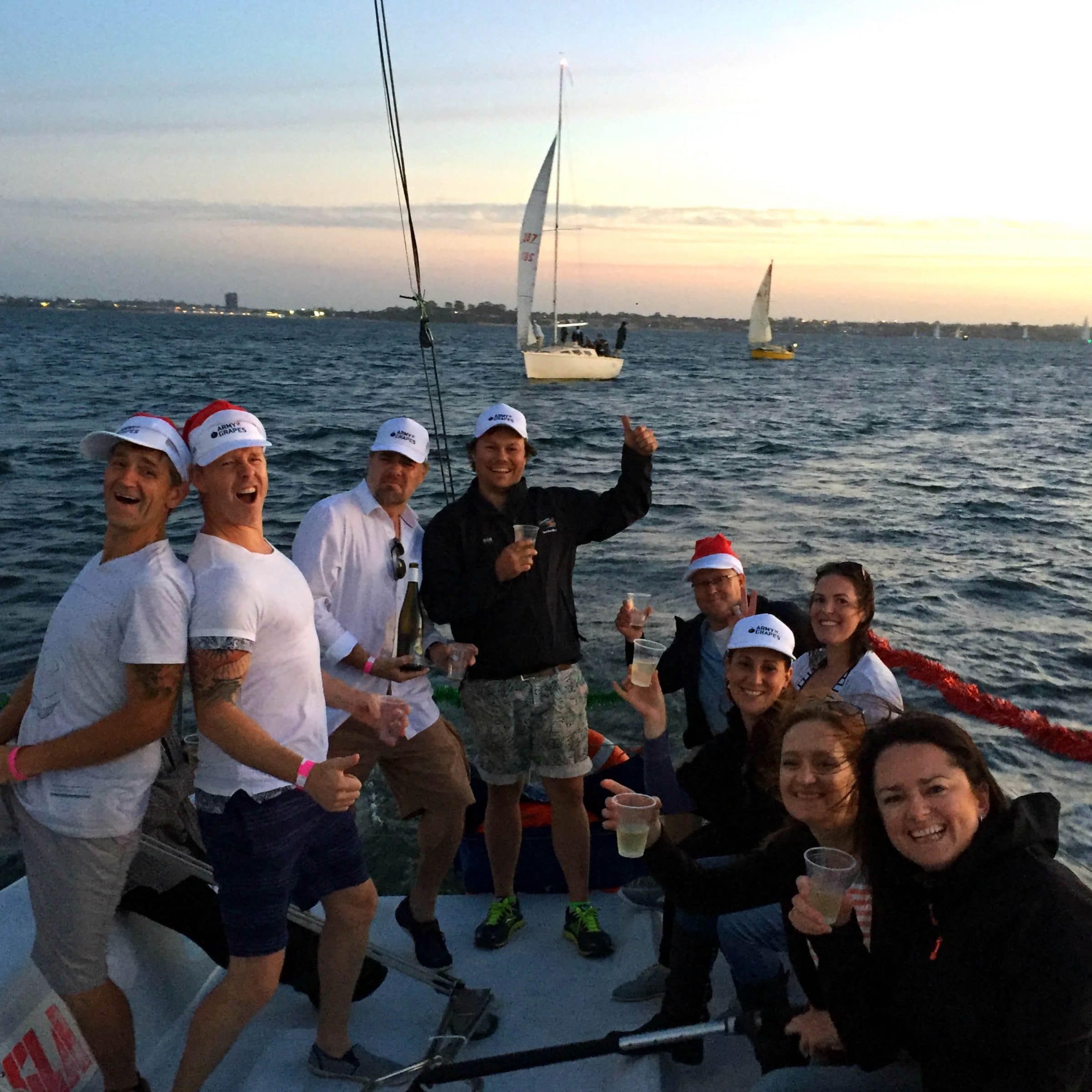 corporate christmas function with swan river sailing in perth