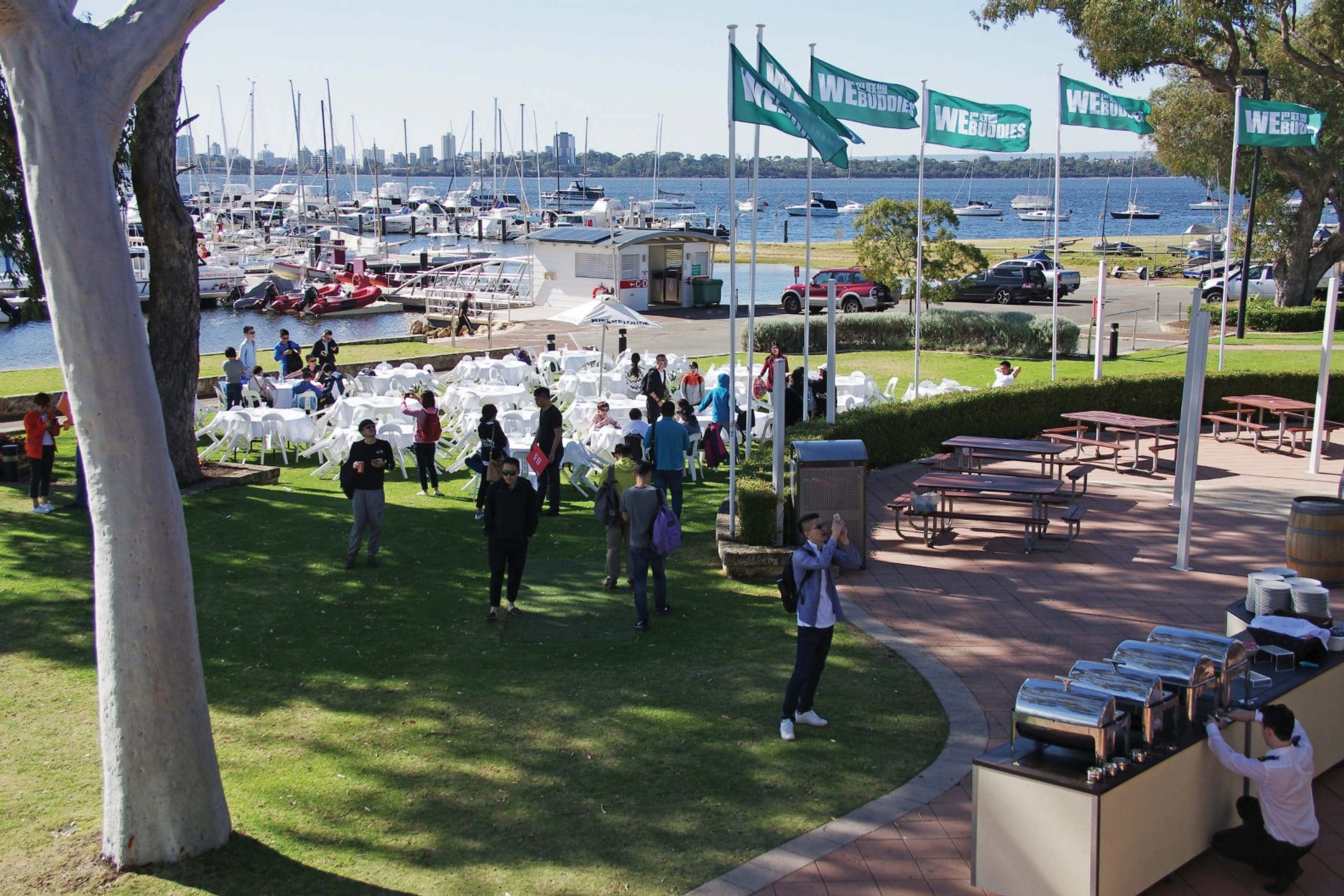 corporate function on the lawn over looking the swan river at royal perth yacht club