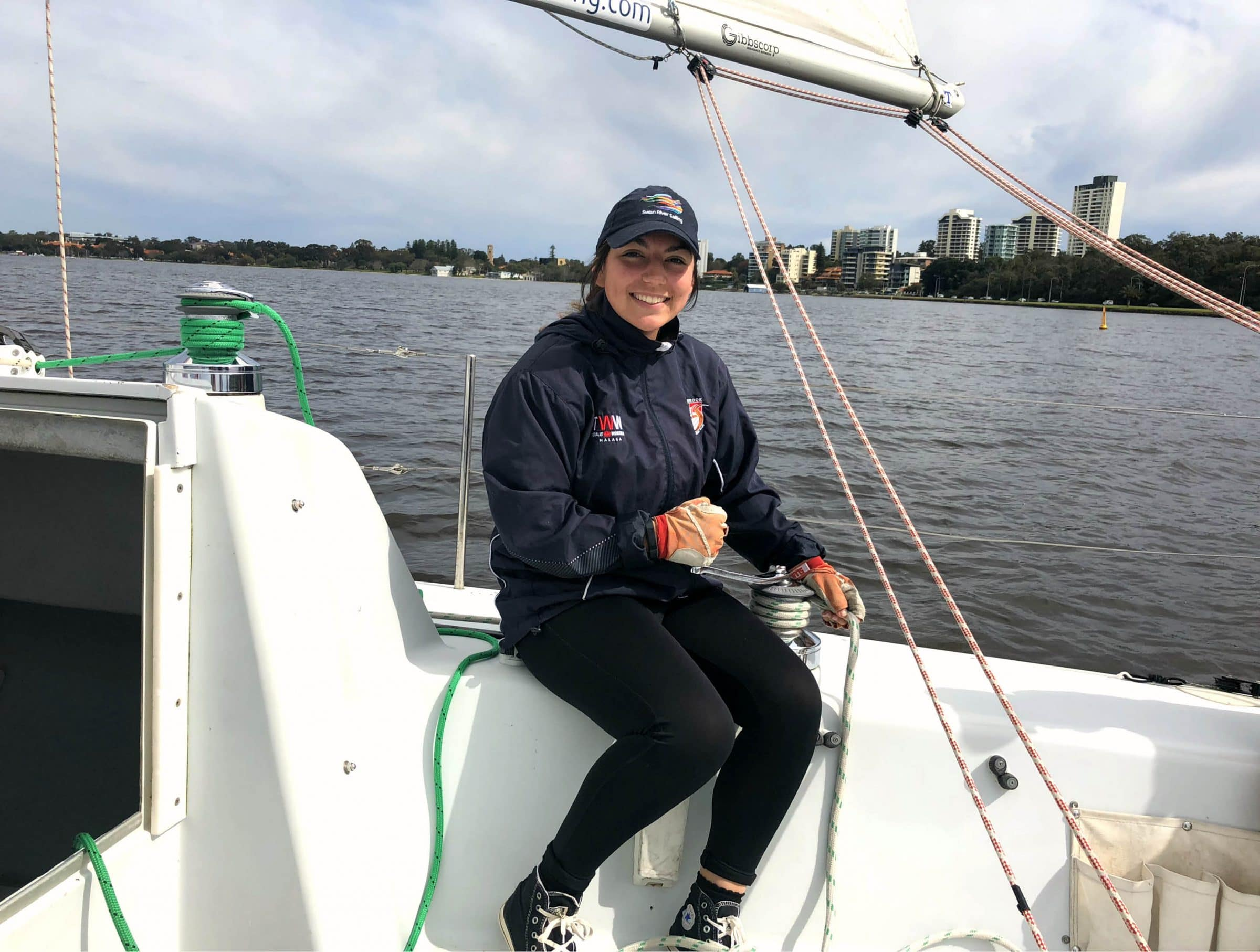swan river sailing work placement student faith from seda group wa