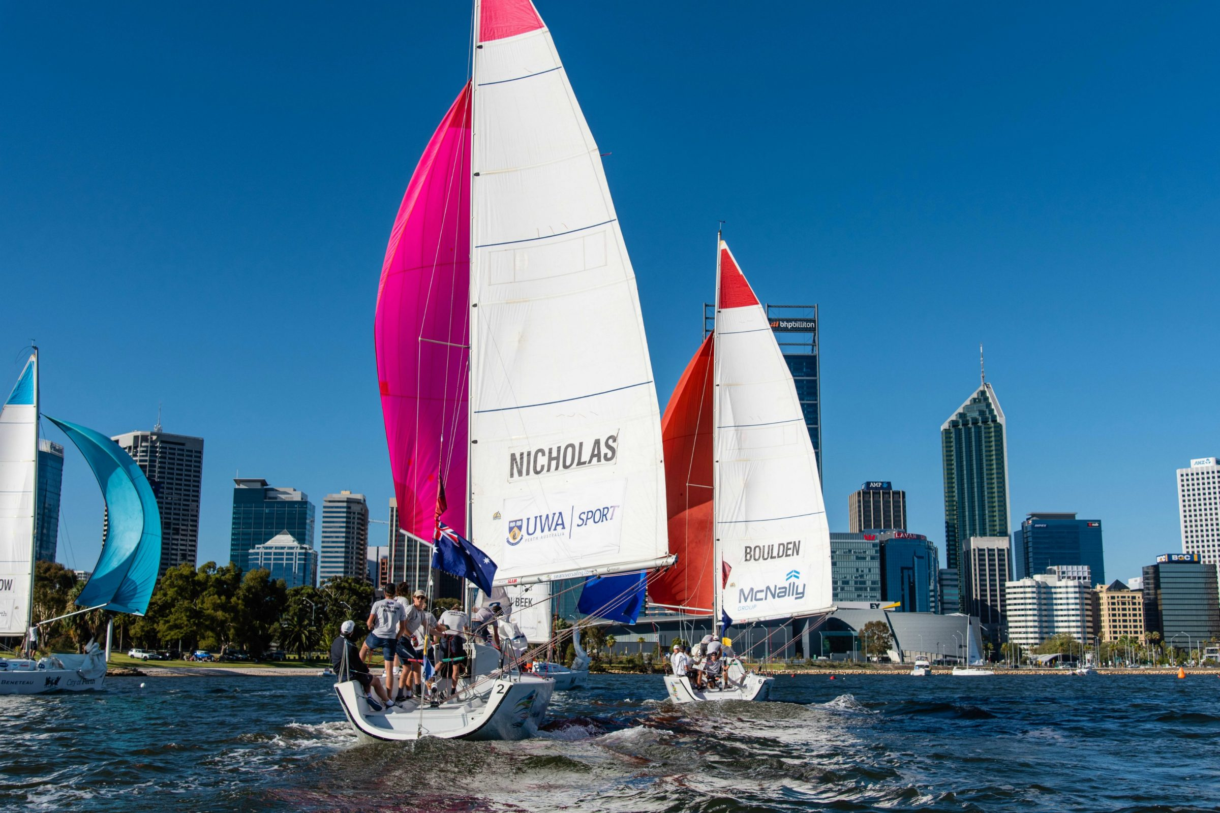 warren jones international youth regatta organised by swan river sailing sailed in perth, swan river sponsored by the city of perth in 2019, a youth international match racing event