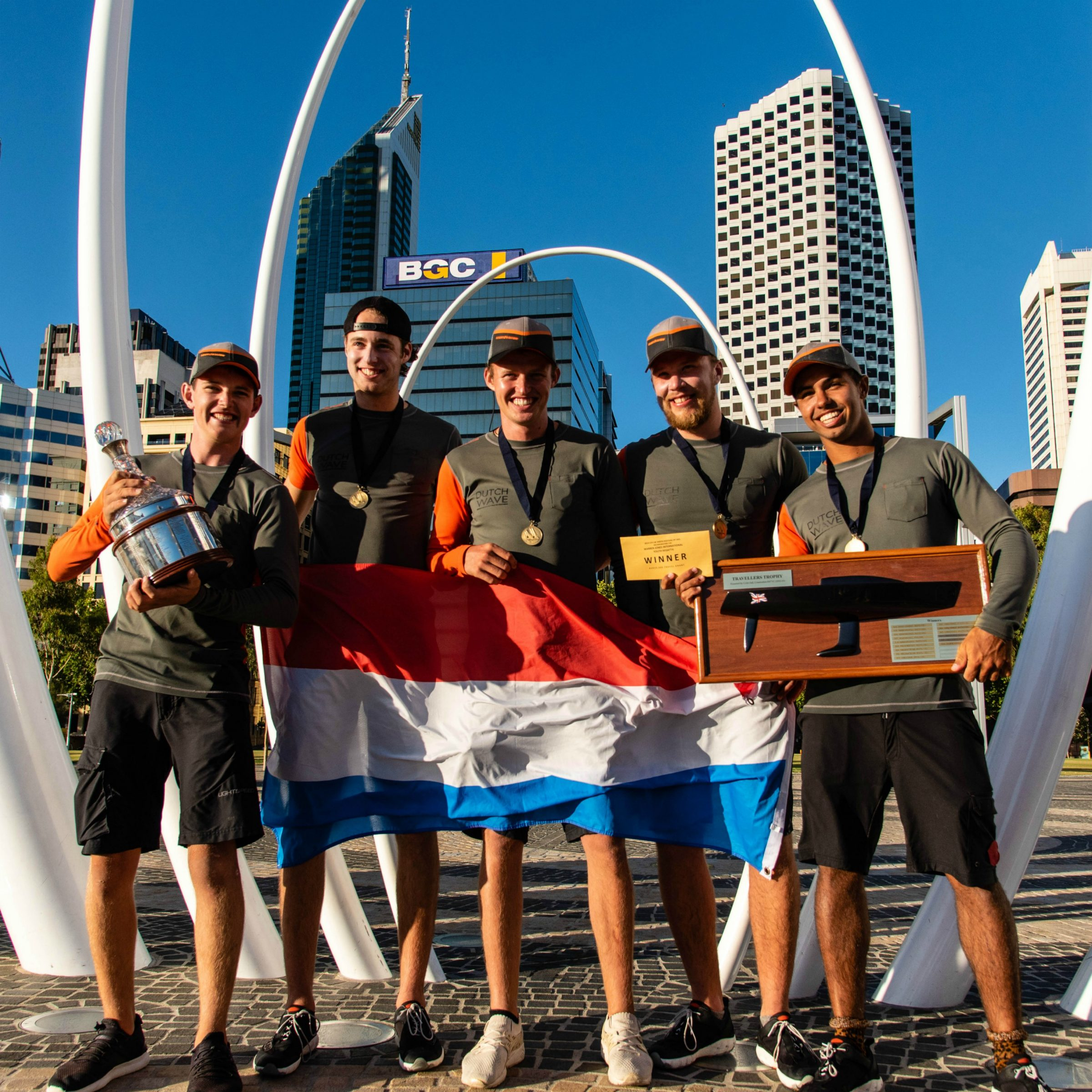 team dutch wave, skippered by jelmer van beek, from the netherlands, winners of the 2019 warren jones international youth regatta, sponsored by the city of perth, organised by swan river sailing, an iconic youth match racing regatta in perth, western australia