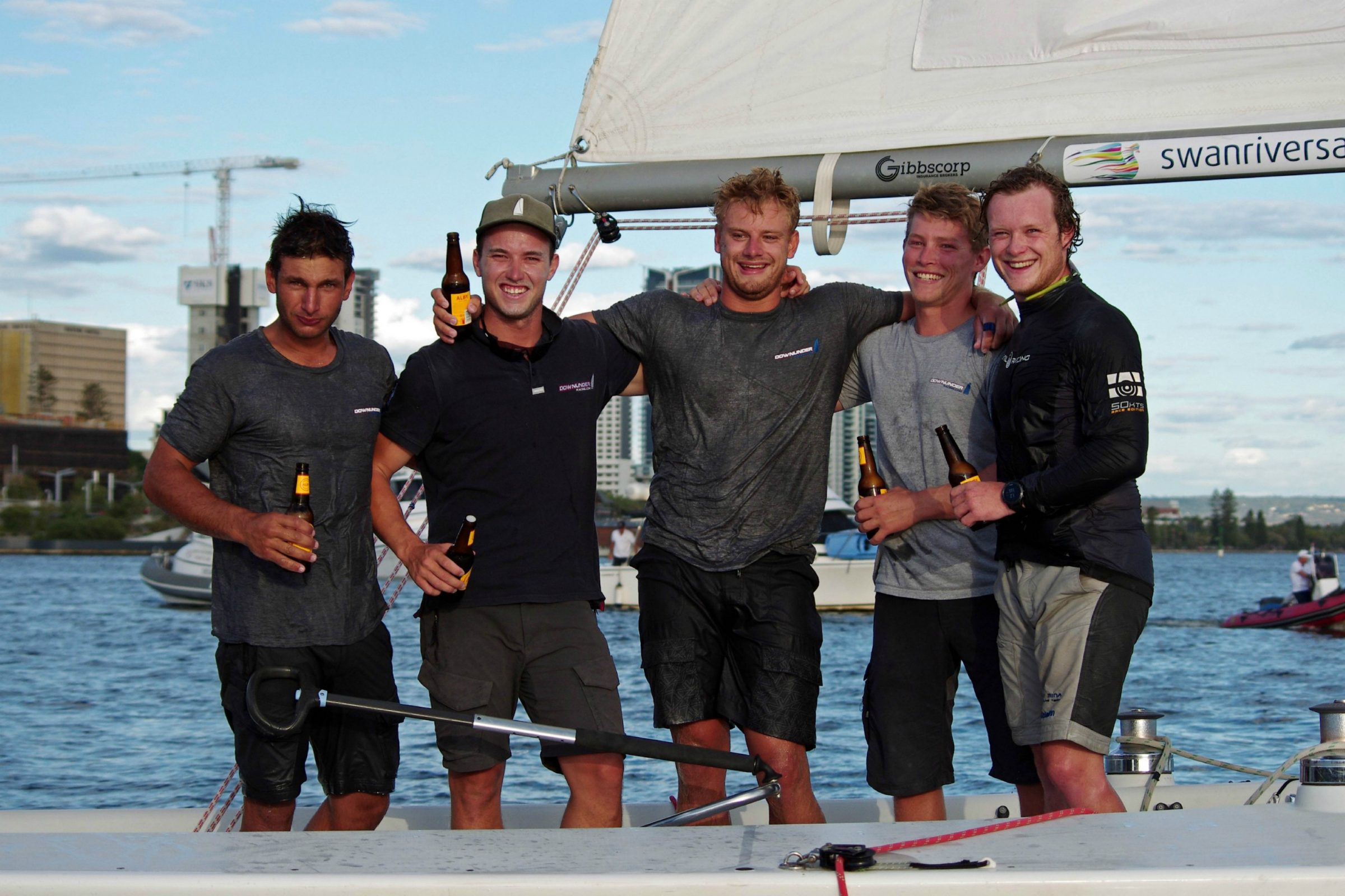 downunder racing, skippered by harry price from the cruising yacht club of australia, winners of the 2018 warren jones international youth regatta, sponsored by the city of perth, organised by swan river sailing, an iconic youth match racing regatta in perth, western australia
