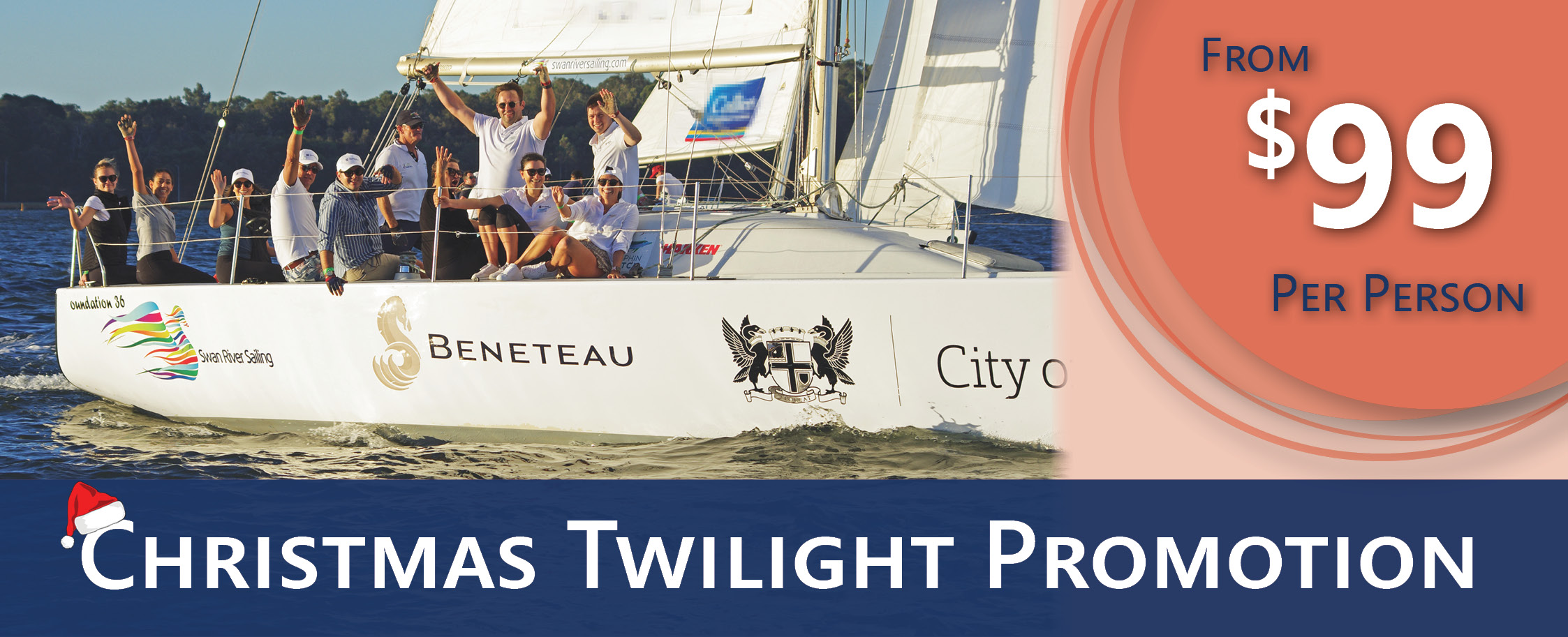 swan river sailing in perth christmas twilights at royal perth yacht club, the perfect office christmas party for small groups